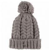 Fille du câble de mode Knitting Brassard Beanie Hat chapeau avec POM POM Haut de page