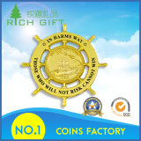 Pièce de monnaie ronde avec la personnalisation pure de couleur d'or d'Antiuqe