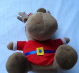 De bruine Teddybeer van de Zitting met het Nieuwe Zachte Materiële Vrolijke Speelgoed van Kerstmis