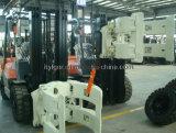 Carretilla elevadora diesel de 10 toneladas con abrazaderas de rollos de papel