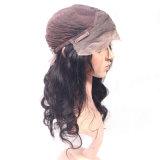 100% de natureza de cabelo humano Remy Virgem Onda do corpo das mulheres Lace Peruca Dianteiro