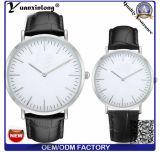 Relógio de pulso clássico da cinta de couro do crocodilo de Caseback Brown do aço inoxidável do relógio dos pares de Japão do tipo Yxl-827 superior