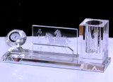 Office Stationeryのための水晶Pen Holder Crystal Clock