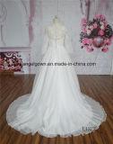 Luva longa elegante do vestido de casamento do vestido de esfera