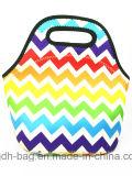 作業または学校のための美しい虹カラー昼食袋のハンドバッグ