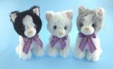 Juguetes de peluche gato con cinta púrpura