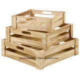 3PC Apilar cajas de almacenamiento de rejillas de madera rústica de madera mostrar en el mercado impiden Don