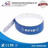 Одноразовый Wristband Hf пассивный 13.56MHz S50 1K RFID бумажный