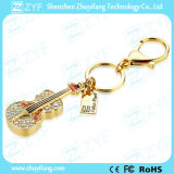 Azionamento della penna del USB dei monili del Rhinestone di figura del violino dell'anello portachiavi (ZYF1904)