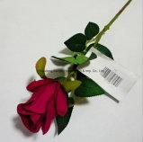 Plástico Artificil flor de seda rosa solo con un pequeño brote de la decoración del hogar