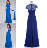 Royal Blue Long Cap Sleeve Chiffon Prom Dress