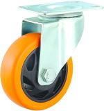 3-5 Zoll dreht orange Belüftung-industrielle Fußrolle mittlere Aufgaben-Fußrolle mit Bremse