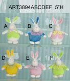 """5""""H Bunny con lindo sombrero de regalo decoración de Pascua-3asst"""