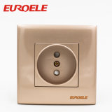 PC Gold Color 2 Pole 1 Gang European Wall Socket