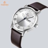 Reloj del acero inoxidable del cuarzo de los hombres de la manera con la correa de cuero 72076