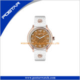 Version noire Cool Style Crystal Glass Relogios Leather Band Watch