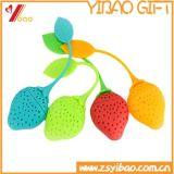 Bolso de té de encargo de la dimensión de una variable de la flor de la fresa del silicón para promocional