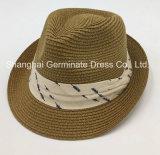 方法綿の王冠バンド(Sh039)が付いているペーパー麦わら帽子の紙ひもの帽子