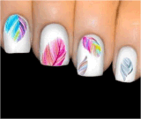 Стикер ногтя стикеров искусствоа ногтя переноса воды радуги леопарда пера