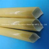 Sleeving elétrico trançado da isolação do fio da fibra de vidro revestida ambarina do plutônio da cor 4.0kv