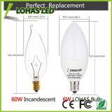 Ampola da vela morna do diodo emissor de luz do branco 60 watts equivalente com 6W E12