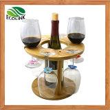 Cremagliera di visualizzazione di bambù naturale del vino del supporto del vino