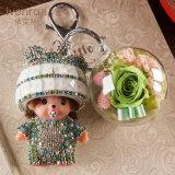 Flor preservada Monchhichi Keychain para el regalo