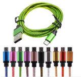 Cabo de dados de nylon do USB do Weave colorido para o telefone de pilha fêmea do USB 3.0 Mico