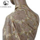 Tessuto del merletto dell'Africa nel colore dell'oro per il vestito da cerimonia nuziale