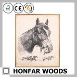 حصان حجر السّامة حيوانيّ كلاسيكيّة زخرفة صورة زيتيّة في إطار خشبيّة