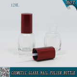 12ml botella de uñas de vidrio con tapa de cepillo de tornillo rojo