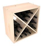 Шкаф кубика вина хранения индикации древесины сосенки 24-Bottle размера изготовленный на заказ