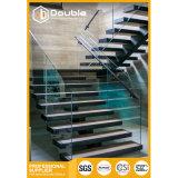 El doble de acero inoxidable pasamanos de escaleras de madera con baranda de vidrio