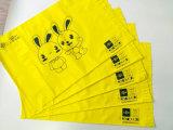 Gelbe Farbe LDPE-Verschiffen-Pfosten-Beutel mit schwarzem Firmenzeichen