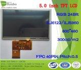 5.0 visualizzazione dell'affissione a cristalli liquidi di pollice 800*480 RGB 40pin 300CD/M2 con lo schermo di tocco