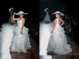 Europäisches Entwurfs-Rüsche-Organza-Hochzeits-Kleid