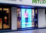 Visualización de LED al aire libre de interior transparente de cristal para hacer publicidad (P3.9, P5)