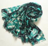 最も売れ行きの良い女性Green Geometic Printed Viscoseのスカーフ(HWBVS29)