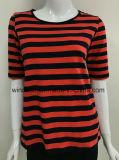 高品質の縞で飾られるヤーンの染料を持つ女性のための中間の袖のTシャツ