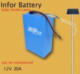 batteria di litio di 12V 20ah per il sistema solare, indicatore luminoso di via