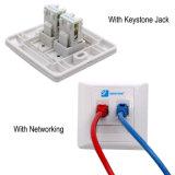 White Ethernet 2 Port Keystone Faceplate placa de parede CAT6 com PC / ABS Housing