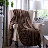 Choclate Farbe strickte Flanellthrow-Luxuxvlies-Zudecke für Haus