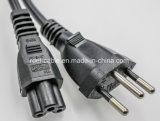 Le Brésil le bouchon à IEC C15 appareil Cordon d'alimentation au Brésil avec cordon d'alimentation pour ordinateur portable Inmetro approbation