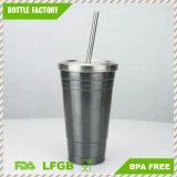 Double tasse de café portative de course de l'acier inoxydable 450ml de mur avec la cuvette de thé de paille de couvercle BPA-Libre