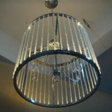 Moderno hotel Cristal cilíndricos de aço inoxidável decorativa Lâmpada Pendente