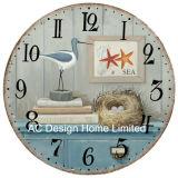 型の装飾の骨董品のオーシャンブルーの海事デザインMDF木プリントペーパーステッカーの柱時計