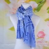 Moda 100% de lã merino lenço impresso (14-BRS310202-1)