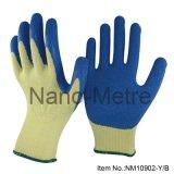 Gant de latex revêtu de polycoton et de protection en polycotone Gant de travail en caoutchouc