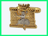 L'or Cufflink avec logo Graver (m-CL03)