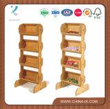Plancher en bois de 4 niveaux d'affichage permanent avec 4 bacs